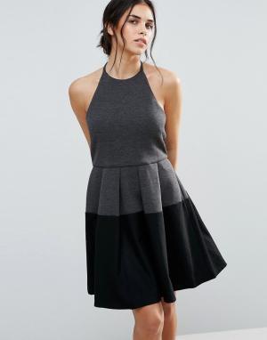 D.RA Платье в стиле колор блок Aria. Цвет: серый