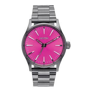 Часы  Sentry 38 Ss Gunmetal/Pink Sunray Nixon. Цвет: серый,розовый