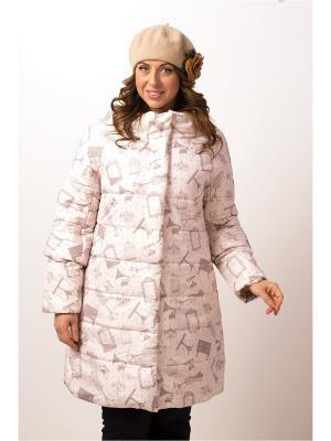 Стеганое пальто ДушеГрея. Цвет: кремовый