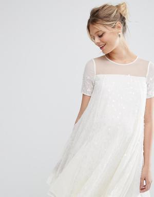 ASOS Maternity Свободное платье для беременных с переливающимися пайетками Mater. Цвет: кремовый