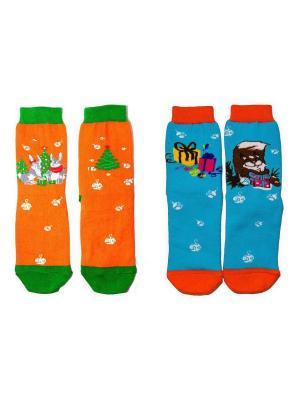 Комплект носков Big Bang Socks. Цвет: голубой, оранжевый