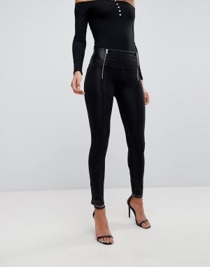 Freddy Зауженные джинсы с завышенной талией и двумя молниями WR.UP. Цвет: черный