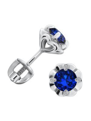 Серебряные серьги KRASNOE. Цвет: серебристый, синий