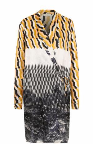 Удлиненная блуза с запахом и принтом Dries Van Noten. Цвет: бежевый