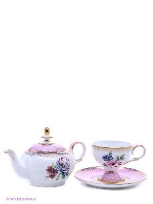 Чайный набор Цветок Неаполя (Fiore Napoli Pavone) Pavone. Цвет: белый, розовый