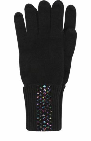 Кашемировые перчатки с отделкой стразами Swarovski William Sharp. Цвет: черный