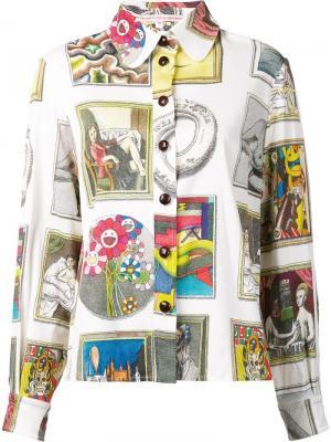 Рубашка с комбинированным принтом Olympia Le-Tan. Цвет: многоцветный