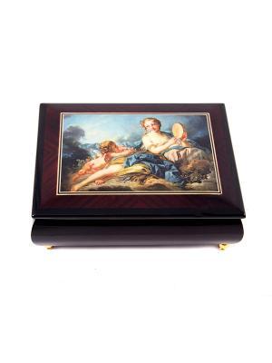 Шкатулка для ювелирных украшений MERCANTE. Цвет: золотистый, бордовый, темно-коричневый