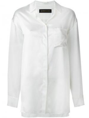 Атласная рубашка Alexandre Vauthier. Цвет: белый