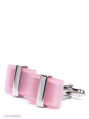 Запонки Розовая классика Mitya Veselkov. Цвет: серебристый, розовый