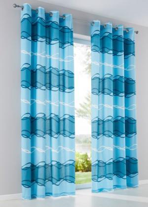 Штора Мика (1 шт.), люверсы (сине-зеленый/аква) bonprix. Цвет: сине-зеленый/аква