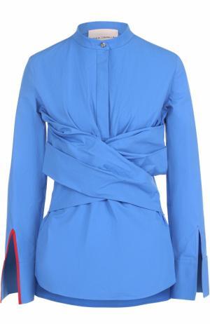 Хлопковая блуза с воротником-стойкой и драпировкой Erika Cavallini. Цвет: голубой