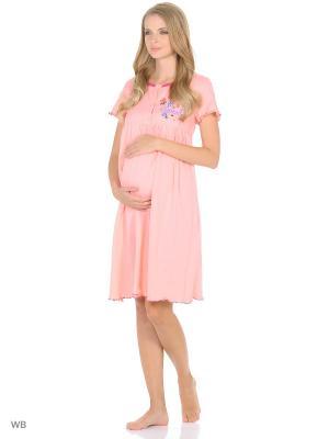 Ночная сорочка для беременных и кормления 40 недель. Цвет: персиковый