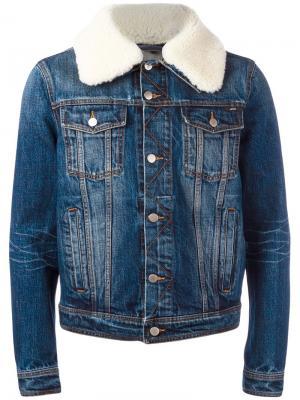 Джинсовая куртка с воротником из овчины Ami Alexandre Mattiussi. Цвет: синий