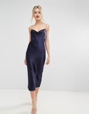 Bec & Bridge Атласное платье миди Sirens. Цвет: темно-синий