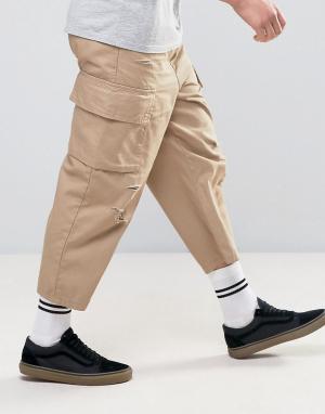 ASOS Свободные укороченные брюки-карго песочного цвета с заплатками. Цвет: светло-бежевый