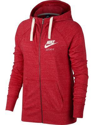 Толстовка W NSW GYM VNTG HOODIE FZ Nike. Цвет: красный, белый