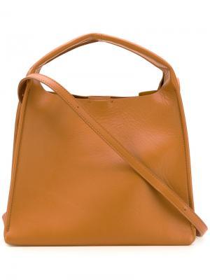 Маленькая структурированная сумка-тоут Maison Margiela. Цвет: коричневый
