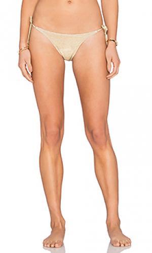 Низ бикини с завязками по бокам OndadeMar. Цвет: металлический золотой