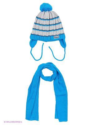 Шапка и шарф Grans. Цвет: голубой