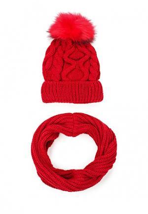 Комплект шапка и снуд Fete. Цвет: красный