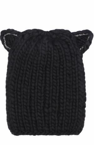 Шерстяная шапка фактурной вязки с декоративной отделкой Eugenia Kim. Цвет: черный