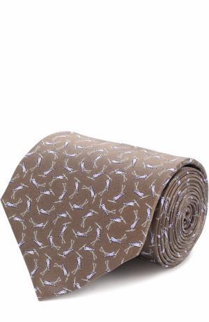 Шелковый галстук с узором Lanvin. Цвет: хаки