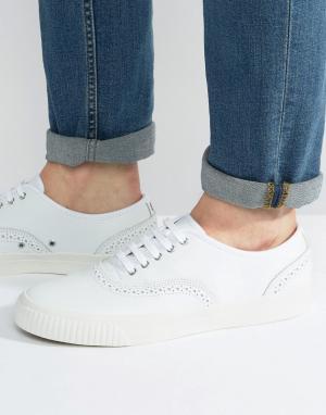 Fred Perry Кожаные кроссовки-броги Barson. Цвет: белый