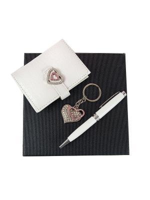 Подарочный набор: ручка, визитница, брелок 16*16*3см Русские подарки. Цвет: белый