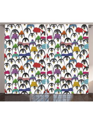 Комплект фотоштор из полиэстера высокой плотности Пингвины в шапочках и шарфах, 290*265 см Magic Lady. Цвет: черный, голубой, красный