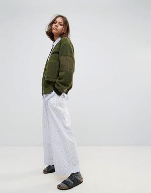 Wood Широкие укороченные брюки Marion. Цвет: синий