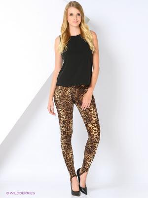 Легинсы Леопард со штрипками SEANNA. Цвет: коричневый