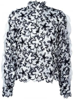 Кружевная блузка Self-Portrait. Цвет: чёрный