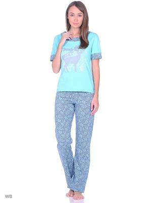 Пижама NAGOTEX. Цвет: бирюзовый, серый