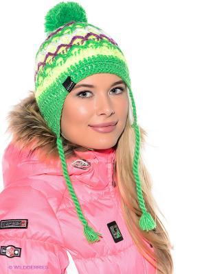 Шапка Icepeak. Цвет: зеленый, желтый, белый