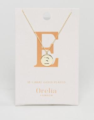Orelia Позолоченное ожерелье с инициалом Е на подвеске-диске. Цвет: золотой
