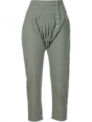 Укороченные брюки Ulla Johnson. Цвет: зелёный