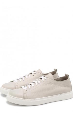 Кожаные кеды на шнуровке H`D`S`N Baracco. Цвет: белый