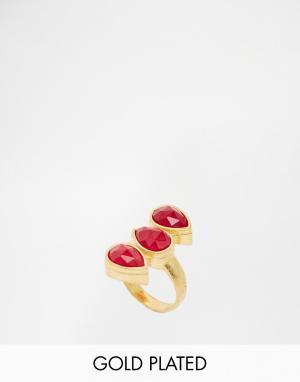 Taara Jewellery Кольцо с покрытием из 22-каратного золота камнем. Цвет: золотой