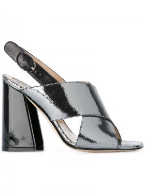 Босоножки на устойчивом каблуке Paula Cademartori. Цвет: серый