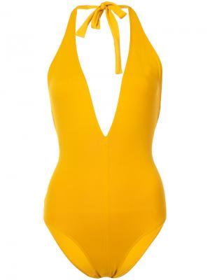 Слитный купальник с глубоким V-образным вырезом Eres. Цвет: жёлтый и оранжевый