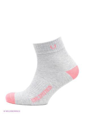 Носки спортивные 5 пар Unlimited. Цвет: серый меланж, коралловый