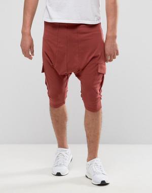 Sixth June Красно-коричневые шорты с карманами карго. Цвет: красный