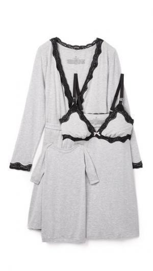 Комбинация, халат для кормления и детское платье Rosie Pope. Цвет: серый меланж/черный/розовый
