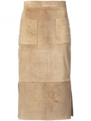 Замшевая прямая юбка Cushnie Et Ochs. Цвет: телесный