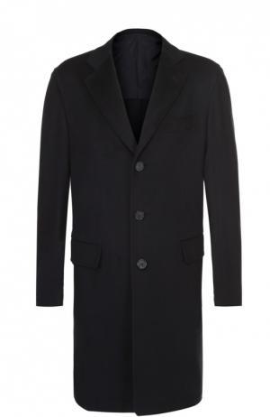 Однобортное пальто из шерсти викуньи Brioni. Цвет: синий