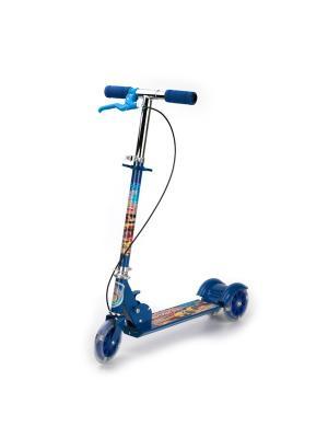 Самокат 3-колесный. стальной, колеса пвх 125 мм, с ручным тормозом, нагрузка до 25 кг. Next. Цвет: синий