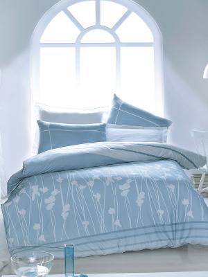 Постельное белье Тет-а-Тет. Цвет: голубой, белый