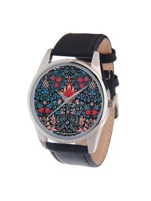 Часы Mitya Veselkov Тюльпановый принт. Цвет: черный