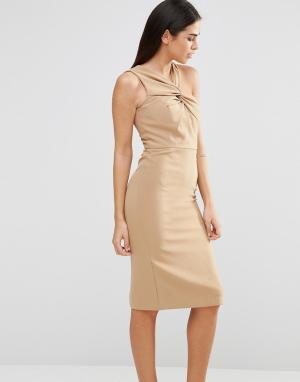 Forever Unique Платье миди с перекрутом Aisha. Цвет: бежевый